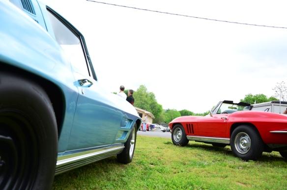 1964 Corvette coupe and 1965 Corvette convertible