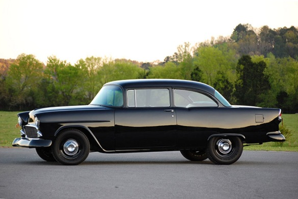 Black 1955 Chevy 150 Sedan Sleeper
